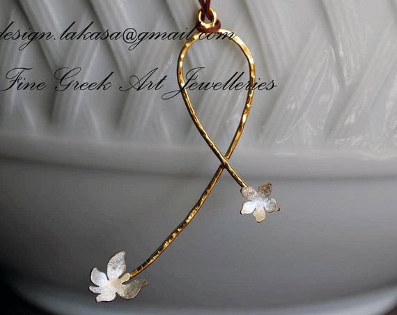 Necklace Sterling Silver Handmade Jewelry Butterfly Flower gold-plated lakasaeshop woman fashion romantic love exotic best idea gift mommy