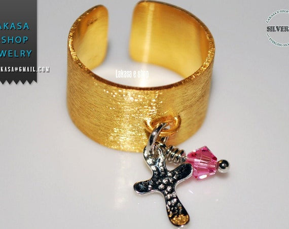 Ring Chevalier Silver 925 Gold-plated Cross Charm with Pink Swarovski Crystal Religious Jewelry Handmade Greek Art Woman Gift Ideas