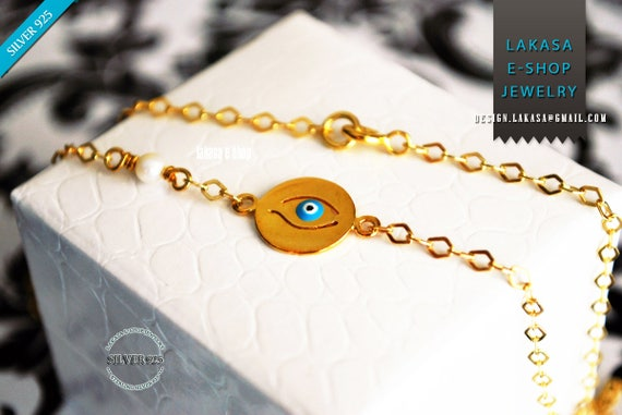 Handmade Jewelry Necklace Chain Sterling Silver Gold plated Blue Enamel Eye Freshwater Pearl Fine Greek Art Mother's Day Woman Girlfriend