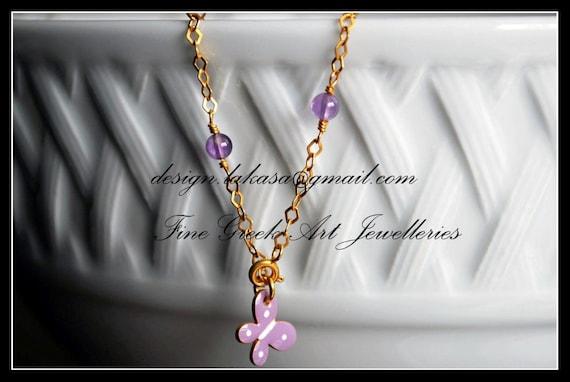 Purple Enamel Butterfly Bracelet Sterling Silver Gold plated Jewelry Amethyst beads Chain Fine Greek Art Best Gift Ideas for friendship Hope