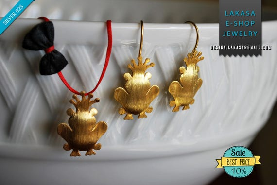SALE Set Frog Prince Crown Earrings Necklace Sterling Silver Gold plated Handmade Jewelry Greece Gift ideas Anniversary  BEST PRICE offer