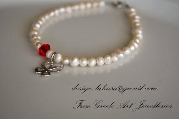Butterfly Pearls Bracelet Sterling Silver Handmade Jewelry Red Swarovski Crystal Best Gift Friendship Hope Love Birthday Woman Girl Unique
