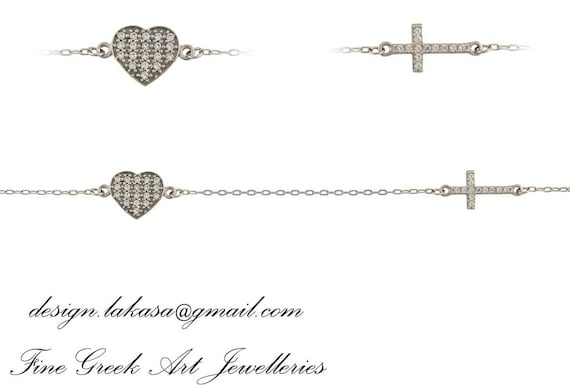 Chain Bracelet Heart Cross Rhinestones Crystals Sterling Silver white Gold plated Jewelry Best Gift Woman Birthday Christian Baptism Baby