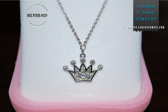 Princess Crown Sterling Silver Necklace Chain Rhinestones Crystals Best Gift Ideas for her Woman Girlfriend sweet Girl Newborn Baptism Mommy