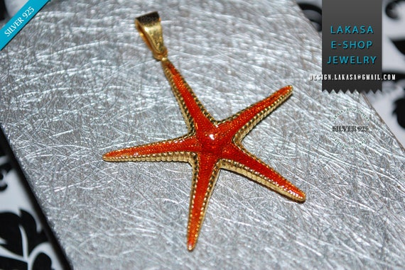 Sea Star Sterling Silver Goldplated Pendant Red Enamel Jewelry Love Woman Unisex Men Marine Hope Freedom Sea Summer Greece Seestern Starfish
