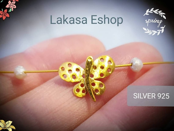 Butterfly Necklace Pearls Silver 925 Gold-plated Handmade Jewelry Best Gift Ideas for her birthday anniversary girlfriend woman Lakasa Eshop