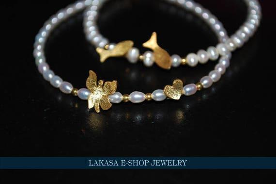 Butterfly Heart Pearls Bracelet Sterling Silver Gold plated Handmade Jewelry ideas gift bracelets love birthday friendship girlfirend mommy
