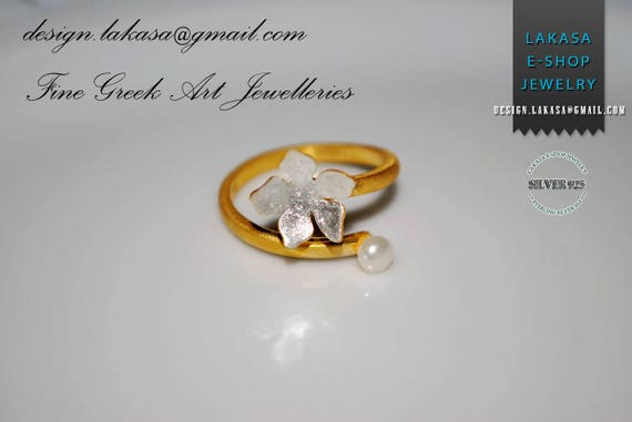 Freshwater Pearl Flower Ring Sterling Silver Gold plated Handmade Jewelry Best Gift Ideas Floral Design Love Anniversary Woman Girlfriend