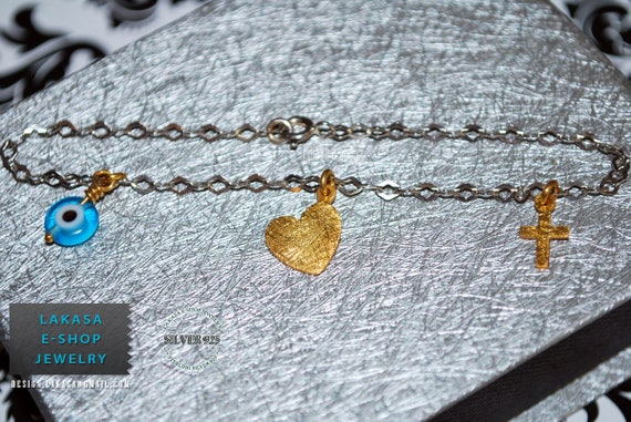 Heart Bracelet Sterling Silver Gold plated Jewelry Chain with Cross Eye Woman Valentine Anniversary Christening ideas Newborn baby girl boy