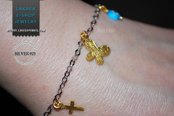 Butterfly Bracelet Sterling Silver Gold-plated Fine Jewellery in chain with Cross and Eye Lakasa e-shop Best Ideas Gift for children & woman