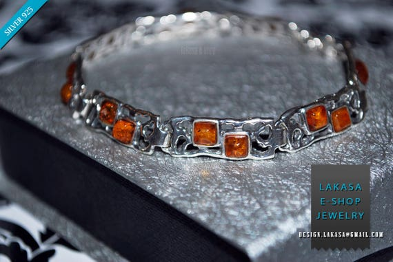 Baltic Amber Bracelet Sterling Silver 925 Jewellery Chain Free Shipping Best Idea Gift for Woman Unisex Collection Natural Gemstones Quality