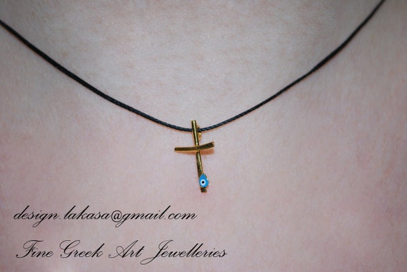 Necklace enamel cross sterling silver gold plated jewellery lakasa shop gift for her birthday girlfriend mother girl baby religious blue eye