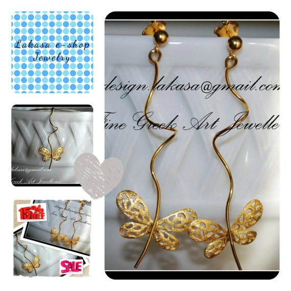 SALE Set Handmade Jewelry Butterfly Earrings Necklace Sterling Silver Gold Free Shipping Birthday Anniversary Valentine BEST PRICE offer