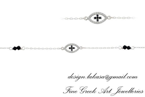 Chain Bracelet Eye Cross Silver 925 white Gold-plated Jewelry Rhinestones Crystals Best idea Gift woman birthday baptism Baby shower day