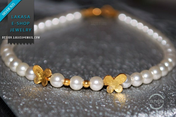 Butterfly Pearls Bracelet Sterling Silver 925 Gold-plated Handmade Jewelry Best Gift Ideas for her Girlfriend Birthday Friendship Love Hope