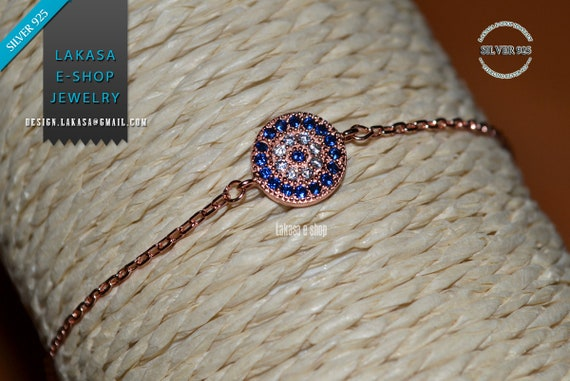 Chain Bracelet Blue Εye Zircon Silver 925 Pink Gold-plated Jewelry Best Ideas Gifts Mother's Day Anniversary Birthday Woman
