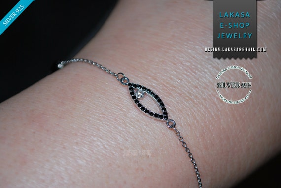 Eye Bracelet Sterling Silver white gold plated Jewelry Chain Black Rhinestone Crystals Best ideas gift woman birthday religious baptism love