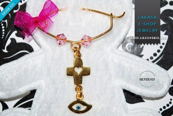 Baby Brooch Cross Heart Pink Swarovski Crystals Enamel Eye Sterling Silver Handmade Jewelry Mother Religious Christening Newborn Girl Mommy