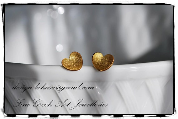 Sweet Hearts Studs Earrings Sterling Silver 925 Gold-plated Handmade Jewelry for her Birthday Anniversary Gifts Valentine Woman Girl Mother