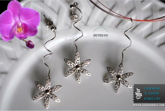 SALE Set Handmade Jewelry Flowers Earrings Necklace Sterling Silver Gift for her Woman Mother Free Shipping Floral Desing BEST PRICE offer