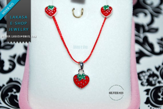 BEST Price Juicy Strawberry Red Enamel Set Jewelry Necklace Earrings Sterling Silver Girl School Moda Kids Collection Sale OFFER