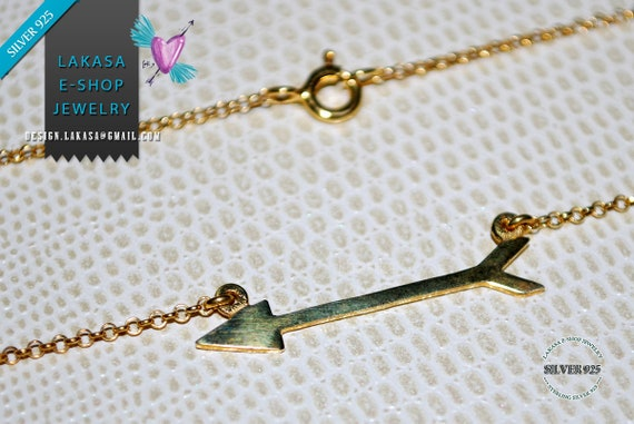 Love Arrow Necklace Sterling Silver 925 Gold-plated Chain Jewelry Best Ideas Gifts for her Woman Birthday Anniversary Valentine Day Passion