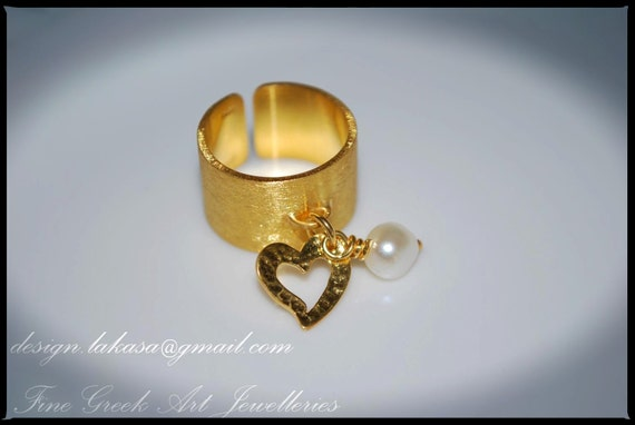 Chevalier Ring Heart with Pearl Sterling Silver Gold plated One Size Handmade Jewerly Fine Greek Art Valentine Gift Love Woman Anniversary