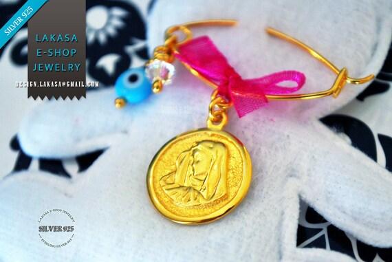 Madona Baby Brooch Sterling Silver Gold plated Swarovski Crystal & Blue Eye Best Gift Baptism Birthday Mother Newborn Girl Christening Ideas