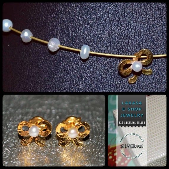 SET Necklace & Studs Earrings with Freshwater Pearls Cute Bow Silver 925 Gold-plated Handmade Jewelry Anniversary Birthday Best Ideas Gifts