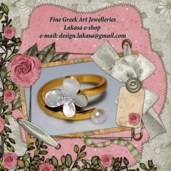 Butterfly Ring Silver 925 Gold-plated with Pearl Lakasa e-shop Jewelry