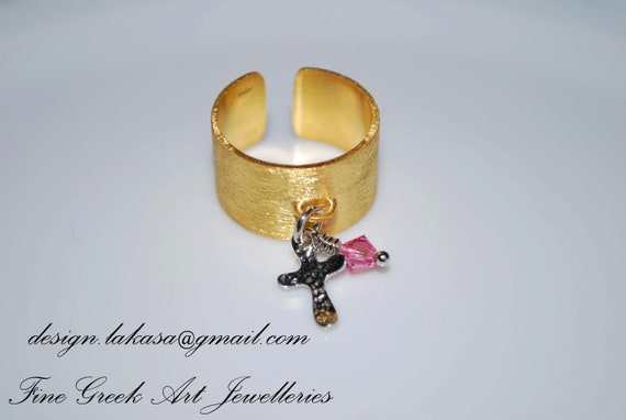 Ring Chevalier Sterling Silver 925 Gold-plated Cross Charm with Pink Swarovski Crystal Religious Jewelry Handmade Greek Art Woman Gift Ideas