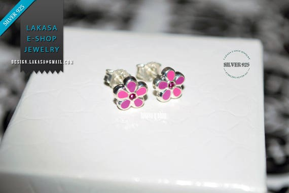 Purple Pink Enamel Flowers Studs Earrings Silver 925 Jewelry with Pink Zirconia Crystals lovely gift for her Woman Girls Collection