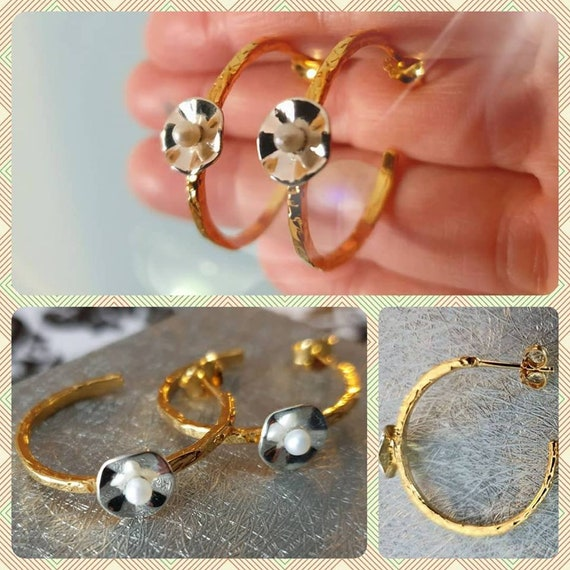 Hoop Earrings Silver 925 Gold-plated Handmade Jewelry with Freshwater Pearls Anniversary Woman Moda Classic Style Lakasa Eshop