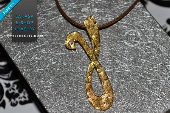 γ Monogram Silver 925 Gold-plated Handmade Jewelry Necklace brown cordon Rhinestone Crystal Greek Art Unisex Personalised Best Idea Gifts