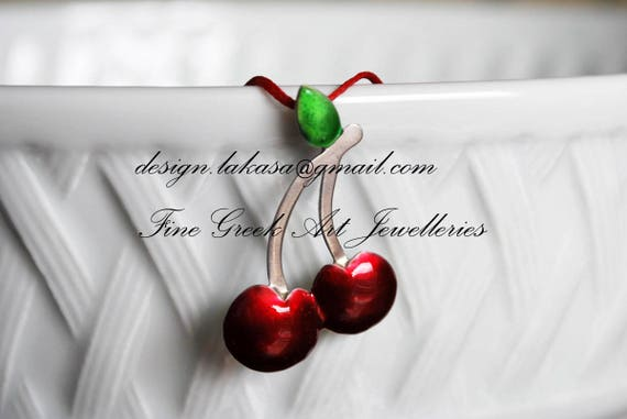 Red Enamel Cherries Necklace Sterling Silver Handmade Jewelry Fruit Juicy Girl Summer Collection Moda Pretty Woman Idea Mediterranean Greece