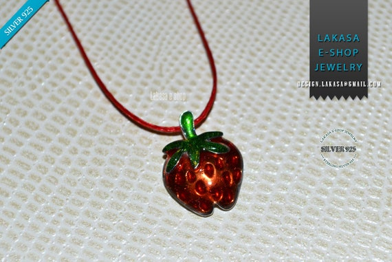 Enamel Strawberry Necklace Silver 925 white Gold-plated Handmade Jewelry Spring Summer Best Ideas Gifts Woman Girl Greek Art Lakasa Eshop