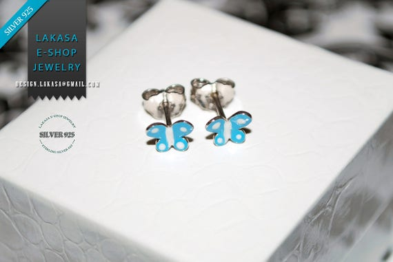 Enamel blue Butterfly studs Earrings Sterling Silver white Gold plated Handmade Jewelry freedom girl Kids Collection baby moda Best Gifts