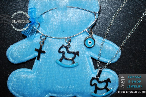 SET Blue Enamel Horse Carousel Baby Brooch Chain Necklace Sterling Silver Jewelry Gift Baptism Newborn Boy Cross Religious Shower Day Mother