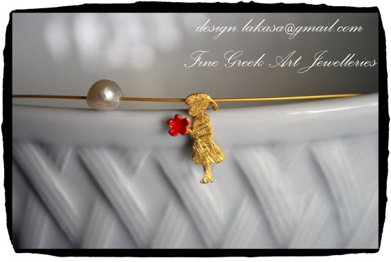 Red Enamel Necklace Girl & Flower Sterling Silver 925 Gold-plated Pearl Handmade Jewelry Romantic style  Mother's Day Anniversary Birthday