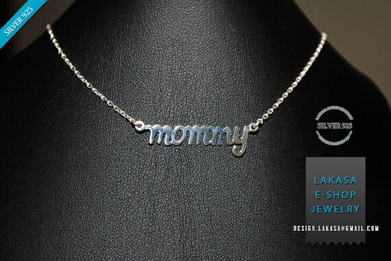 Mommy Necklace Sterling Silver Gold Plated Chain Lakasa e-shop Jewelry best gift ideas birthday anniversary mother day mama love affection