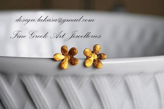Flower Stud Earrings Sterling Silver Gold Handmade Jewelry Fine Greek Art Woman Girlfriend Sweet Girl Floral Design Moda Romantic Style Love
