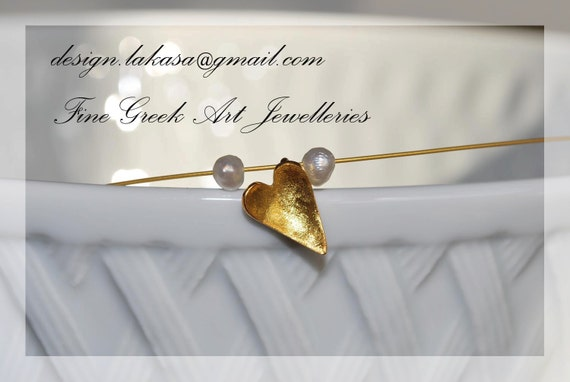 Heart Necklace Sterling Silver Gold Plated Jewelry with Pearls gifts for her birthday Valentine's Day love girlfriend