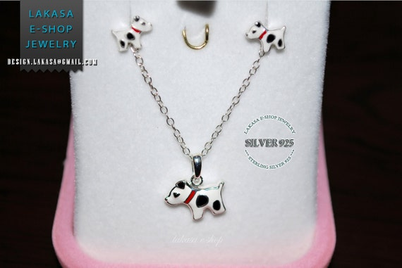 Jewelry Set Enamel cute Dogs Necklace Earrings Sterling Silver Jewelry Best Gift Ideas Birthday Party School Girl Moda funny Kids Collection