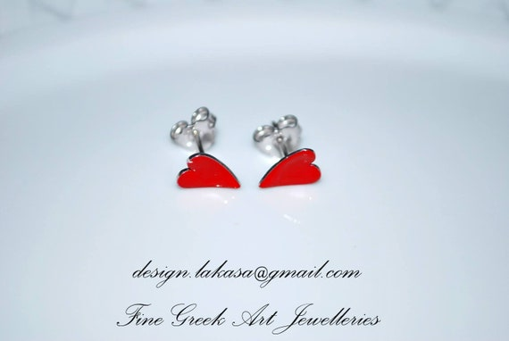Hearts Red Enamel studs Earrings Sterling Silver 925 White Gold-plated Jewelry Best Ideas Gifts for her Birthday Anniversary Valentine Love