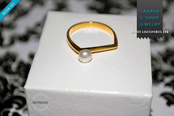 Freshwater Pearl Ring Sterling Silver Gold Handmade Jewelry Gift for her Birthday Girlfriend Excellent Woman Modern Square Minimalist Style