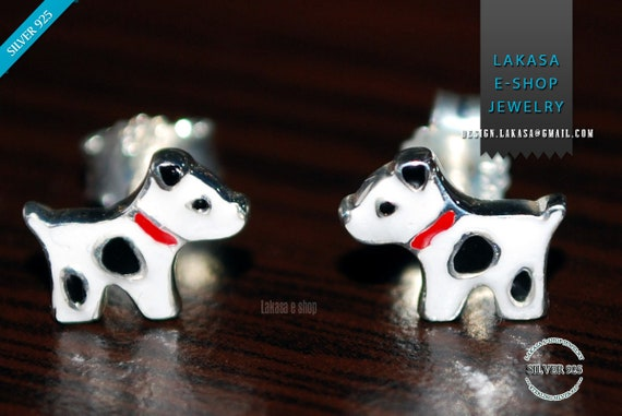 Enamel cute Dogs Studs Earrings Silver 925 Jewelry Best Gift Ideas Birthday Party Girly Moda funny Kids Collection Girl