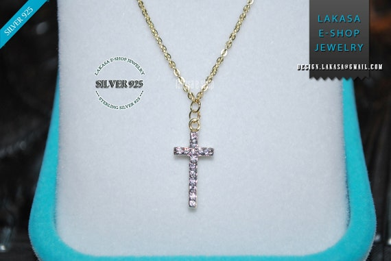 Cross sterling silver gold plated jewellery necklace chain rhinestones crystals best gift ideas woman baby girl baptism birthday anniversary