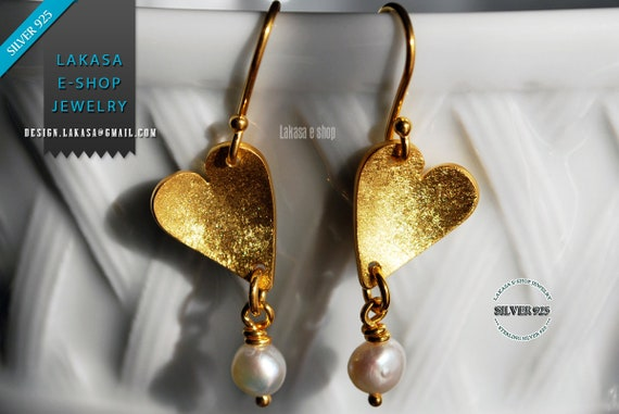 Earrings Hearts with Freshwater Pearls Silver 925 Gold-plated Handmade Jewelry FREE Shipping Greek Art Valentine Love Woman Passion