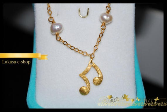 Music Lovers Bracelet Sterling Silver Gold plated with 4 Pearls in Chain Fine Jewelry Best ideas gift forher birthday anniversary woman girl
