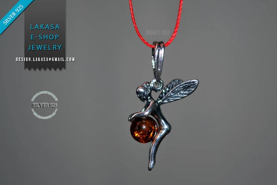 Necklace Fairy Baltic Amber Sterling Silver Jewelry lakasaeshop Best gift ideas for her Birthday Woman Girl Best price Fairytale red cordon